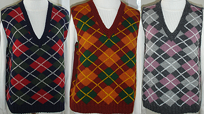 Three Argyle Vests